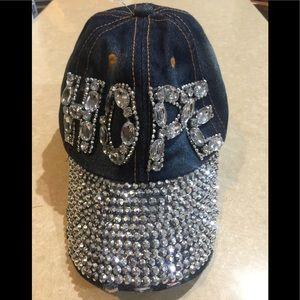 Accessories - Embellished Blue Denim HOPE CAP w/ BLING  NWOT